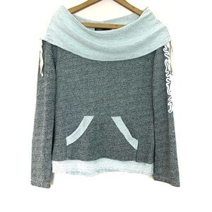 Gypsy 05 Gray Cowl Neck Applique Sleeve Sweatshirt
